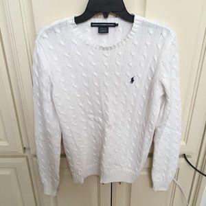 Ralph Lauren Sport White Crew Neck White Sweater